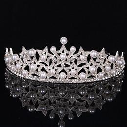 $enCountryForm.capitalKeyWord Australia - Bridal Crowns and Tiaras Pearl Wedding Hair Accessories Handmade Bride Headpieces Sparkle Wedding Accessories Bridal Accessories