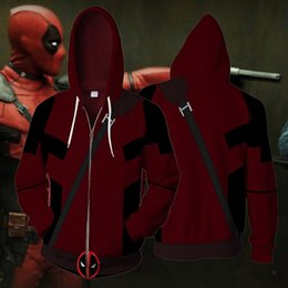 deadpool costume xxl Australia - 2018 new deadpool 3D printed springtime new style American superhero Hoodies Zipper Outerwear casual hooded hoodies tops Cosplay costume