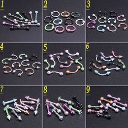 $enCountryForm.capitalKeyWord NZ - 100pcs lot Mix Colors Stainless Steel Cone Circulars Horseshoes Barbell Ring Eyebrow Nose Rings Body Piercing Jewelry