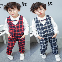 Discount baby boy red plaid shirt Boy cartoon penguin 3 piece clothing set plaid vest shirt pants baby boy clothing sets boys clothing
