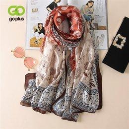 $enCountryForm.capitalKeyWord Canada - wholesale 2018 New Autumn print Scarf Women chiffon brand luxury shawl hijab Vintage designer silk scarves Femme foulard bandanna