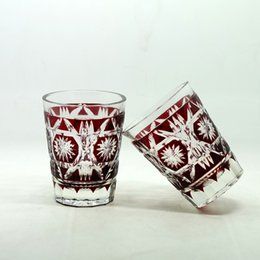 tea japanese 2019 - Hand Cut to clear Glass Tumbler Ruby red Glass beer cup Juice Glass Tea set Japanese style Satsuma kiriko