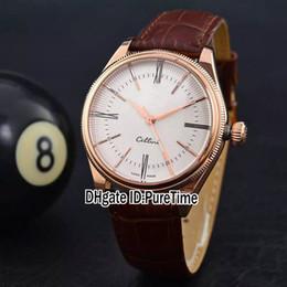 Venta al por mayor de Nuevo Rollie Cellini Time 50505 Oro rosa de 18K Dial blanco A2813 Reloj automático para hombre Marrón Cuero Zafiro Cristal 4 Estilos Barato Puretime R30d4