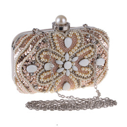 Diamond Studded Evening Clutch Bag Australia - Pearl diamond-studded evening bag pochette soiree with a diamond bag women's rhinestone day clutch female wedding party bags