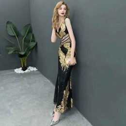 Wholesale 2018 The New Evening dress Lady Madam Fish tail Sexy Lace Slim Celebrity party Stylish and elegant Temperament Creative Slim fit Birthday