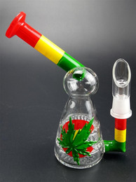 Double Bent Bong Australia - Colorful Double Recycler Glass Bong Water Pipe Beaker Bong 16CM Thick Build Unique Dab Rigs with 14MM Joint Glass Water Pipes