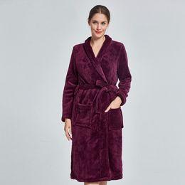 Women Kimono Bath Robe Coral Fleece Warm Sleepwear Negligee Winter Thick  Home Dressing Gown Casual Nightgown Lady Loungewear 9e6b11ad0