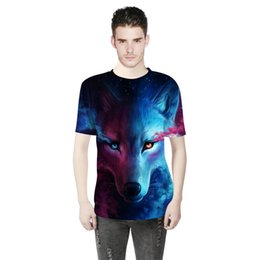 $enCountryForm.capitalKeyWord NZ - European and American sports shirt summer explosion models fashion wolf pattern digital 3D printing men's outdoor T-shirt men