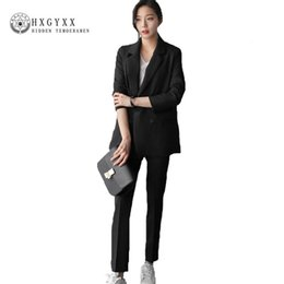 5cbc6a8a556 Two Piece Set Korean 2018 New Casual Professional Suit Double Breasted  Striped Jacket Straight Pant Office Lady Clothing P131