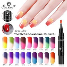 Discount color change pen - Saviland 36 Colors Gel Polish Pen Thermal Temperature Change Color Pencil Nail Gel Varnish Soak Off UV Chameleon Lacquer