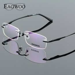 5be0ed5a40 frameless spectacles 2019 - Aluminum Alloy Rimless Optical Frame  Prescription Men Eyeglasses Frameless Glasses Reading Light