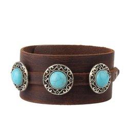 Heißer Verkauf Leder Türkis Armreif schwarz und braun Farbe Rindsleder Armband im alten Stil Schmuck Großhandelspreis Zubehör für cooles Mädchen