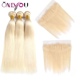Russian blonde haiR bundles online shopping - Onlyou Brazilian Virgin Hair Blonde Bundles with Frontal Top Lace Lace Frontal and Bundles Straight Human Hair Bundles Closure