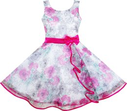 $enCountryForm.capitalKeyWord UK - Girls Dress 3 Layers Hand Drawing Peony Flower Pageant 2018 Summer Princess Wedding Party Dresses Kids Clothes Size 4-12