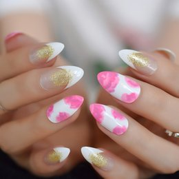 Discount patterned acrylic nail tips - Floral Almond French Glitter Medium Nails Pre-designed Full-Covered False Nails Pattern Pointed Art Acrylic 24pcs