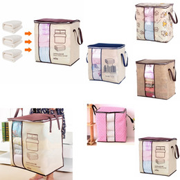 Portable closets wholesale online shopping - Non woven Portable Clothes Storage Bag Organizer cm Folding Closet Organizer For Pillow Quilt Blanket Bedding GGA619