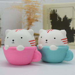 toy souvenirs NZ - Wholesale Squishy Cup cat powder slow rebounding head cup toys PU Vacuum toys Souvenir Cup cat powder slow rebounding cat head toys