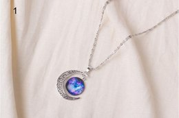 Pendants Designs For Girls NZ - Beautiful design hollow starry sky moon time gemstone necklace pendant clavicle chain for women girl nice dreamlike gifts 12 color free ship