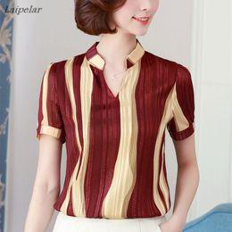 office lady short sleeves shirts 2019 - New 2018 Summer Print Chiffon Blouse Women Tops Short Sleeve Shirt Ladies Office Blouses Fashion Stripes Blusas Femme Pl