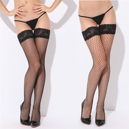 $enCountryForm.capitalKeyWord Canada - Sexy Mesh Stockings Women Lace Top Sheer Stay Up Thigh High Stockings Ladies Black Nylon Fishnet Pantyhose 2017 New