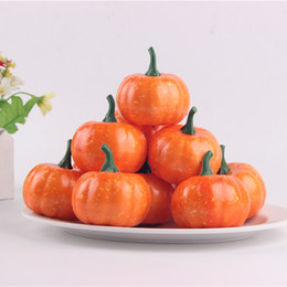 mini pumpkin decoration 2020 - 5.5cm Fake Fruit Home House Kitchen Decoration Artificial Lifelike Simulation Mini Pumpkins Halloween house Decoration c