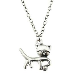 Necklaces Pendants Australia - WYSIWYG 5 Pieces Metal Chain Necklaces Pendants Vintage Necklace Handmade Cat 19x18mm N2-B10218