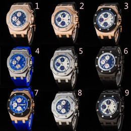 Men liMited watches chronograph online shopping - Good Luxury Brand Rubber Band Royal Oak Offshore Sports Mens Watch Chronograph Stopwatch Limited Edition Men Watches Wristwatch DHL free