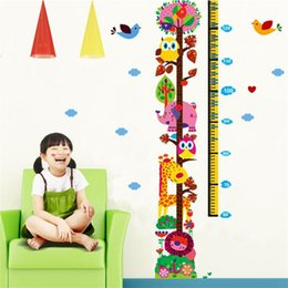 Self adheSive printS online shopping - Owl Cartoon Height Wall Sticker Bedroom Kindergarten Art Decor Translucent Pvc Stickers Boys Girls Growth Colorful Animals Print hm jj