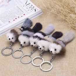 Artificial Chains Wholesalers Australia - Cute Fluffy Crown Bow-knot Fox Ball Key Chain Rings Pompom Artificial Fox Fur Charm Keychain Car Bag Key Ring Women Jewelry