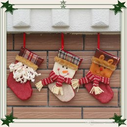 Best Gift For Xmas Australia - 2016 Christmas Stockings Decorations Santa Snowman Deer Stocking Xmas Home Decorations 19cm Hight Best Gifts for Christmas