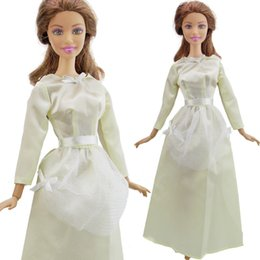$enCountryForm.capitalKeyWord Canada - Fashion Dress Wedding Party Gown Long Sleeves Lace Bowknot Skirt Clothes For Doll DIY Accessories Baby Girl Kids Gift Toy