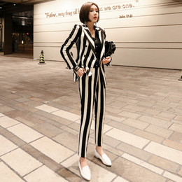 Korean ladies blazers online shopping - Women blazer set korean black white striped double breasted formal business Pants suits office lady work wear clothing jn127
