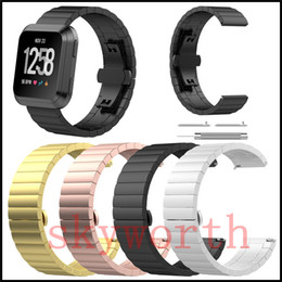 Watches for business online shopping - For Fitbit Versa Lite Watch Band Stainless Steel Metal Watch Strap Unique Polishing Process Business Replacement Wristband watchband
