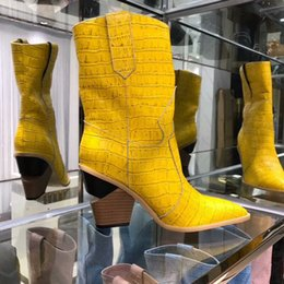 blue booties women NZ - Blue yellow snake skin Women Boots 2018 Pointed Toe Western Boots Cowboy Boots runway brand design Chunky Wedges heel Mid-calf Booties