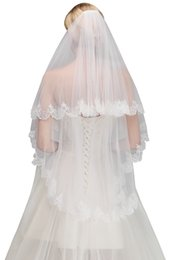 Marriage veils online shopping - 2019 New In Stock Cheap Two Layers Lace Wedding Veil With Comb Short Bridal Veil White Ivory Voile Marriage Wedding Accessories CPA1445