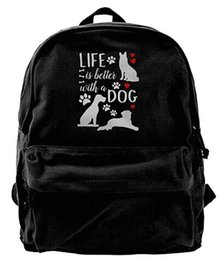 $enCountryForm.capitalKeyWord UK - Life Is Better With A Dog Double Vintage Canvas Backpack Rucksack Laptop Bag Computer Bag