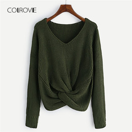 fa994a1ff COLROVIE Army Green V Neck Twist Front Chunky Mustard Casual Women Sweater  2018 Autumn Burgundy Solid Sexy Crop Pullovers Jumper