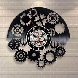 Analog Gear NZ - Creative Gear Element Vinyl Quartz Wall Clock Modern Room Decoration Wall Art Decoration (Size: 12 inch, Color: Black)