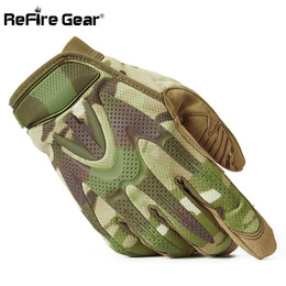 Bicycling Gear Australia - ReFire Gear Camouflage Tactical Army Gloves Men SWAT Military Equipment Full Finger Glove CP Camo Paintball Shoot Bicycle Gloves D18110705