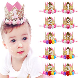 baby girl birthday crowns Canada - Baby Girl First Birthday Party Hat Decorations Hairband Princess Queen Crown Lace Hair Band Elastic Head Wear Hat Gifts For Kids