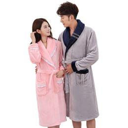 b3a9d46174 Women Men Coral Fleece Robe Gown Lovers Winter Thick Nightgown Bathrobe  Couple Warm Lounge Sleepwear Dress