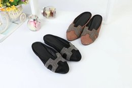 5e667ec99 sandals for summer wholesale flat canvas soft pointed A formal Pure color  home Genuine wear-resisting Anti-skid Package Mail