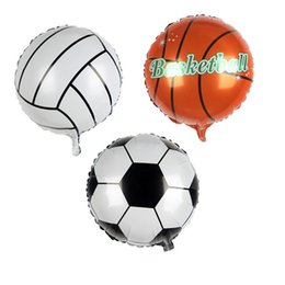 Toys Animes UK - 18inch round volleyball Foil Balloons Inflatable classic toys Helium Balloon happy Birthday Party Supplies aluminum balloon