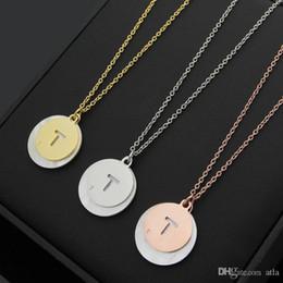 Discount letter t pendants - 316L titanium steel T letter Double shell round pendant ladies necklace 18K gold couple necklace jewelry chain length 50