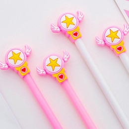 pink stationery NZ - 50pcs lot Pink White Gel Pen Beautiful Star Pens For School Writing Girl Gifts Kawaii Neutral Pens School Supplies Stationery