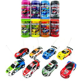 remote control micro racing car UK - 8 Colors Hot Sales 20KM H Coke Can Mini RC Car Radio Remote Control Micro Racing Car 4 Frequencies Toy For Children