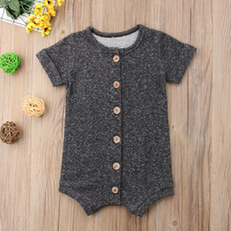 3301294fe0 USA Baby Boy Girl Summer Romper Jumpsuit Playsuit Cotton Shorts Clothes  Baby Boy Short Sleeve Bottom Romper Gray
