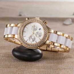 6b0046ceb8d7 ... marca elegante diseñador de lujo vestido de las señoras de cerámica blanca  para mujer relojes de diamantes fecha automática reloj de pulsera de oro