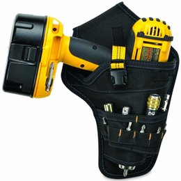 electrician pouches 2019 - Portable Electrician Tool Waist Belt Pouch Bag Impact Driver Drill Holster Electric Cordless Drill Holder Waist Tool Bag