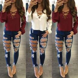 f4c13827f4306 2018 New Women Jeans Hole Ripped Trousers Stretch Tight Jeans Women s Denim  Pants Female Casual Pencil Pants Denim Pants